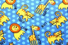 BABY LIONS TIGERS GIRAFFES ON PERIWINKLE BLUE FLEECE FABRIC 2 YDS 60 X 72""