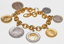 "Veronese Lire Coin Charm Rolo 18K Yellow Gold Clad Sterling 7-1/2""L Bracelet"