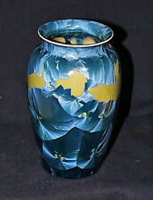 Early Handcrafted American Art Pottery Signed DULY MITCHELL Blue CRYSTALLINE VAS