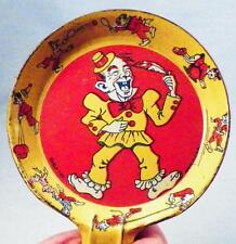 Vintage Clown Tin Noisemaker Toy Buble Made USA Orange Yellow Lithograph