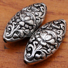 BD2080 Lotus Flower 2 Beads Oval Tibetan Nepalese Repousse  Silver Plated Nepal