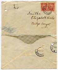 RHODESIA 1921 ADMIRALS 1d x 2 LUSAKA to BELGIAN CONGO