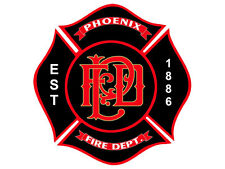 4x4 inch PHOENIX Fire Department Maltese Shaped Sticker -logo firefighter az pfd