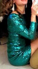 Beautiful Christmas Green Sequin Body Con Dress Size S
