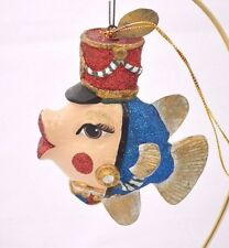 KATHERINE'S Glittered TOY SOLDIER KISSING FISH Retired ORNAMENT NEW 05-11341