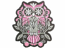 Rockabilly Pink Sugar Skull Owl Tattoo Biker Embroidered Iron on Patch 3""