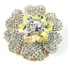 USA BROOCH Swarovski ELM Crystal PIN fashion Wedding Flower Gold plated AB Clear