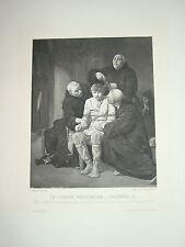 Gravure MEROVINGIEN CHILDERIC III LUMINAIS PEPIN LE BREF 1890 MOINE TORTURE