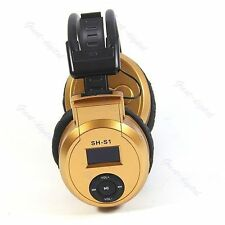 Gold Sport MP3 Player LCD Foldable Wireless Headset Headphone FM Radio TF Card