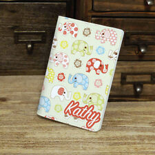Cute Elephant Pattern, Custom Personalised Name Passport Cover Travel Holder