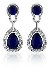 Vintage Design Long Luxury Teardrop Silver & Dark Blue Drop Earrings E698