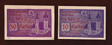 Kutzbuhel Austria NOTGELD bills notes paper money 1920's 10 + 50 Heller