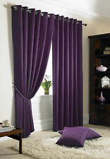 EYELET TOP PLAIN MODERN PATTERN CURTAINS FULLY LINED FREE TIE BACKS MADISON