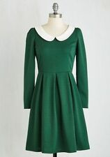 MOdcloth Record Store Date Dress in Forest 1950's  peter pan collar NWT Size 1X