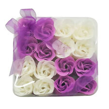 Lot 16pcs Valentine Bath Confetti Fragrant Scented Rose Soap Flower Gift Purple