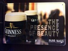 GUINNESS Of Beauty Vtg Metal Pub Sign 3D Embossed Steel Decor,Irish