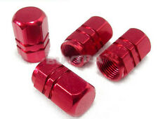 Red 4 PIECE HEXAGONAL ANODIZED ALUMINUM VENTIL VALVE STEMS CAPS