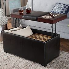 Black Brown Lift-Top Storage Ottoman Coffee Table Indoor Home Living Furniture