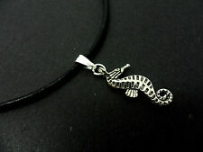"""A LADIES BLACK LEATHER CORD 13 - 14"""" CHOKER WITH SEA HORSE  CHARM NECKLACE ."""