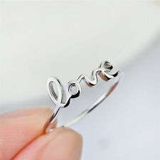 LOVE Script Cursive Word Letters Band Rings Wedding 925 Sterling Silver Size 6