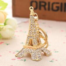 Paris Eiffel Tower Crystal Rhinestone Keychain Keyring Bag Split Key Ring
