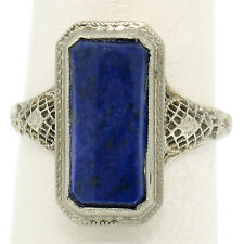 Antique Art Deco 14k White Gold Long Bezel Set Lapis Etched Filigree Dinner Ring