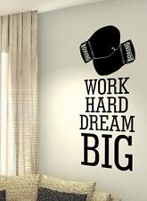 Work Hard Dream Big Boxing MMA Hobby Quote wall vinyl decals stickers Art Decor