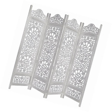 Kamal The Lotus Antique White 4 Panel Handcrafted Wood Room Divider Screen 72x80
