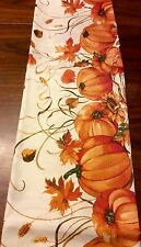 "Fall Pumpkin Fabric Tablecloth 60"" X 104"" Oblong Wrinkle Resistant Easy Care New"