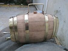 Antique Oak Barrel Beautiful Rings, Handle, Tap in Brass Port Wine 4 Litres