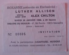 LUTHER ALLISON ALEX CHILTON USED TICKET CONCERT INVITATION MARSEILLE 1988