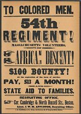 Civil War 54th Mass. Recruitment Flyer Reprint On Original Period 1860s Paper