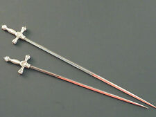 ORNATE PAIR OF SWORD PATTERN MEAT SKEWERS, EPNS
