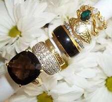 NOS Seta Gold Plated Ring Lot B38 sz 8 - 9 Wide Pave CZ Smokey Topaz Thin Bands