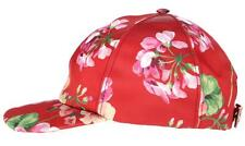 NEW GUCCI LADIES CERISE BLOOMS CURRENT SILK & LEATHER BASEBALL HAT CAP 56/S