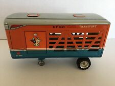 Vintage Tin 1950's Alps Hi-Way Cattle Transport Trailer Only