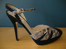 "LK Bennett ""Bank"" Shoes In Black Suede / Snake Effect - Size UK 8 / 9 - EU 42"