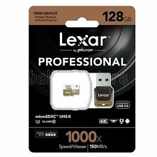 Lexar 128GB 1000x 150MB/s Micro SD SDXC CL10 UHS-II USB3.0 Card Reader for GoPro