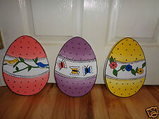 HAND MADE 3-PC. SET EASTER EGGS YARD  YARD ART DECORATION 12'' TALL