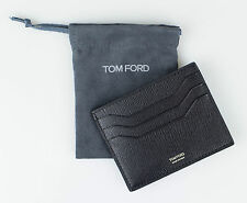 NWT TOM FORD Black Smooth Saffiano Leather Open Side Card Holder Wallet $290
