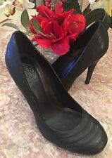 Tory Burch Black Leather High Heels Classic Pumps Size 81/2 EUC