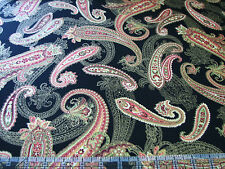 3 Yards Quilt Cotton Fabric - Maywood Christmas Traditions Paisley Met Black