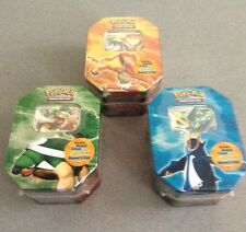 3 Poke'mon Diamond & Pearl Tins -1 Each Yellow/Gold, Blue & Green Lids  NEW