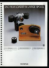 Factory 1978 Olympus 250 Film Loader & Large Spool Camera Dealer Data Sheet Page