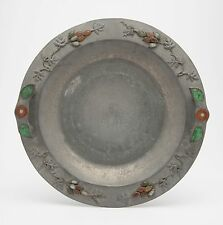 antique chinese pewter plate with semi-precious stones