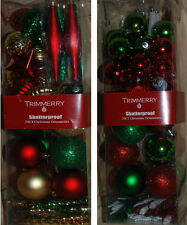 Lot Christmas Tree Red Green White Gold Silver Shatterproof Ornaments New