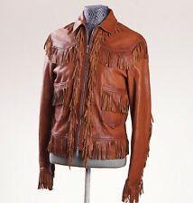 New $2970 DSQUARED Brown Fringe Detail Leather Western Jacket Eu 48 (Small)