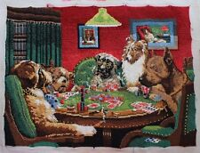 Vintage The Coolidge Dogs Playing Poker Cards - Dimensions Needlepoint Completed