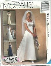 McCall's Sewing Pattern 8635 Wedding Dress & Train Bridesmaid Dress SZ 10 12 14