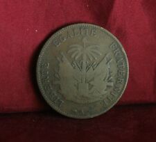 Haiti 2 Centime 1894 Bronze World Coin Palm Tree Flags Cannon Caribbean two cent